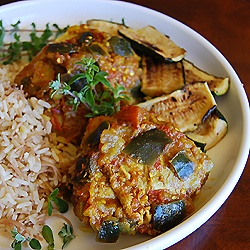 Pakistani Chicken in a Tomato and Eggplant Stew with Yogurt Cucumber Sauce . Wonderful slow food!