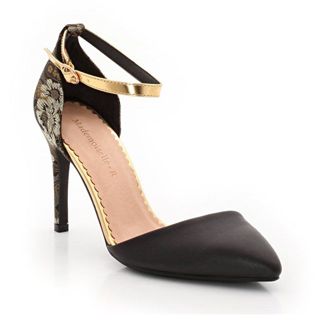 Brocade Effect Dual Fabric Court Shoes