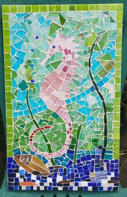 A mosaic seahorse for Lola