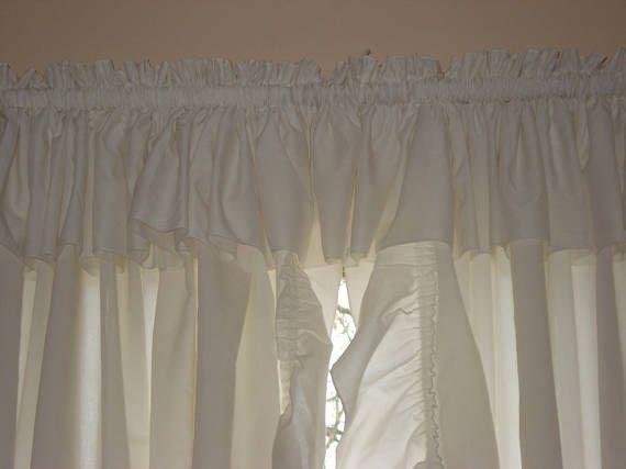 Shabby Chic White Ruffled Priscilla Curtains 51 x