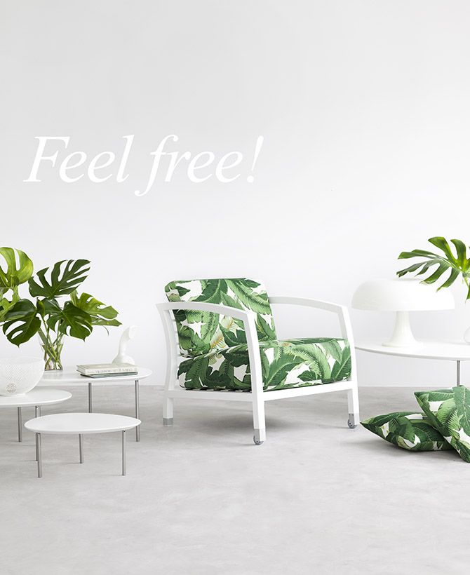 """Set your mind free, feel the creative freedom and find your preferred fabric. At STUA, we make chairs & armchairs in """"customer's own material"""" (C.O.M.) everyday. With only 2 meters of fabric, we can upholster the Malena armchair of your dreams."""