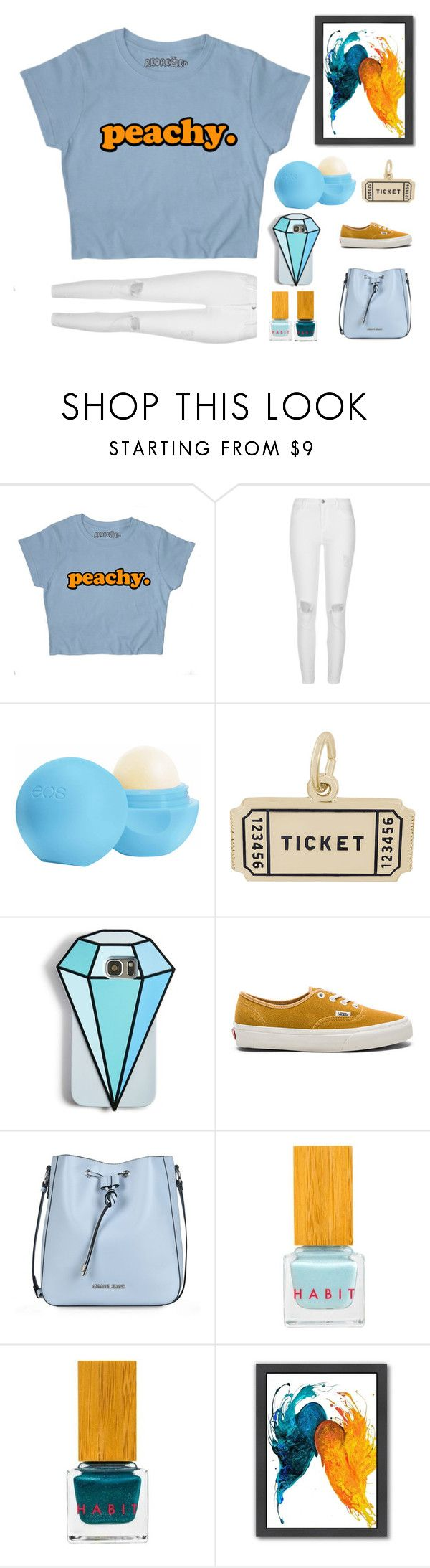 """""""Peachy"""" by jesikasul ❤ liked on Polyvore featuring River Island, Eos, Rembrandt Charms, Celebrate Shop, Vans, Armani Jeans, Habit Cosmetics and Americanflat"""