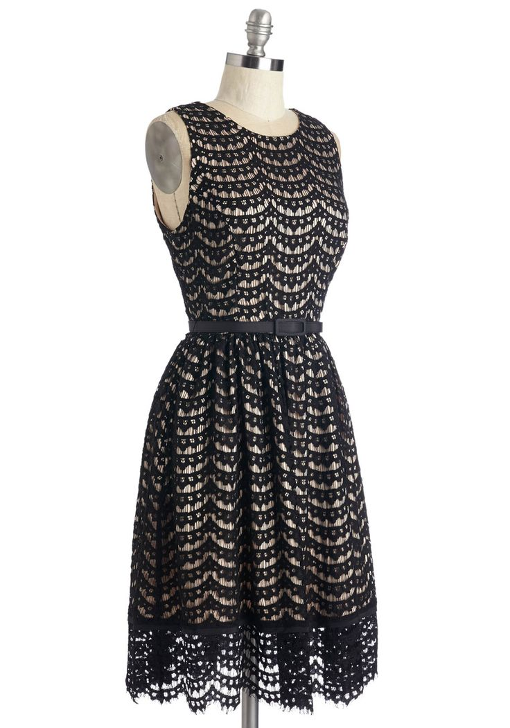 First Lace Prize Dress. When it comes to choosing a frock thats elegant and dignified with a modern twist, opting to flaunt this black lace A-line is no-contest decision. #black #modcloth