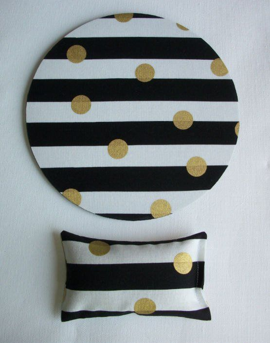 metallic gold desk set - mouse pad and wrist rest - black and white stripes with metallic gold dots - mousepad set coworker gift Desk cubical Accessories  chic / cute / preppy / computer, desk accessories / cubical, office, home decor / co-worker, student gift / patterned design / match with coasters, wrist rests / computers and peripherals / feminine touches for the office / desk decor