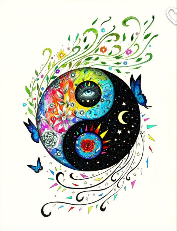 Yin And Yang  Yin Yang Art, Hippie Art, Art Prints-8958