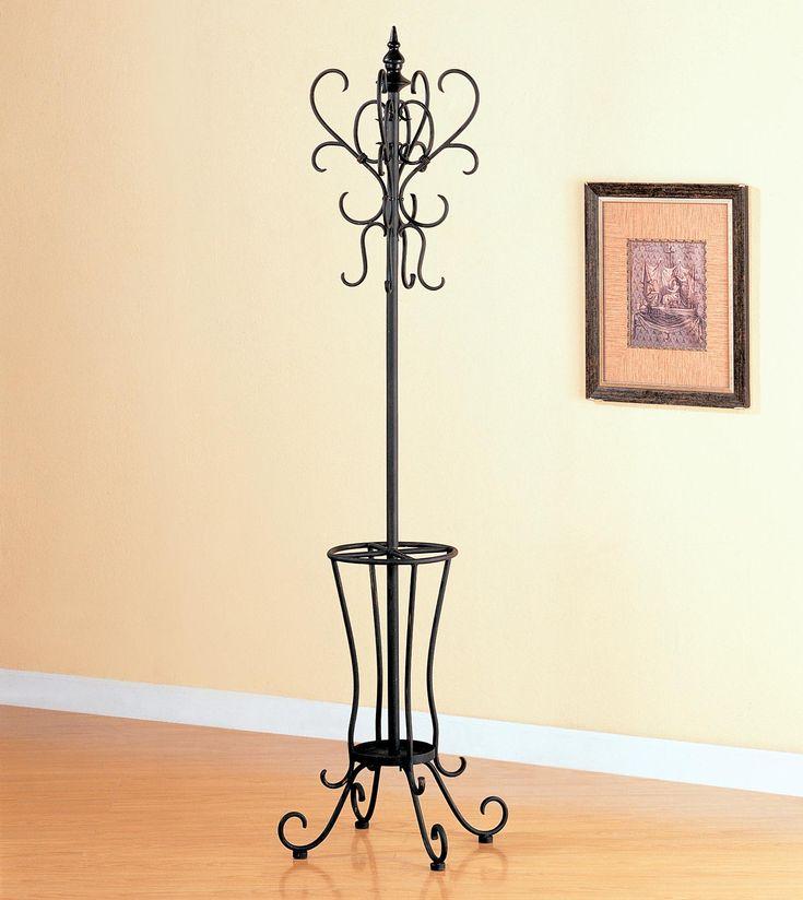 Black Metal Coat Rack with Umbrella Stand by Coaster  http://www.cccstores.com/black-metal-coat-rack-coaster-900804.html #furniture #coatrack