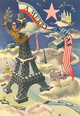 Christmas Card Distributed to GIs visiting Paris, 1944