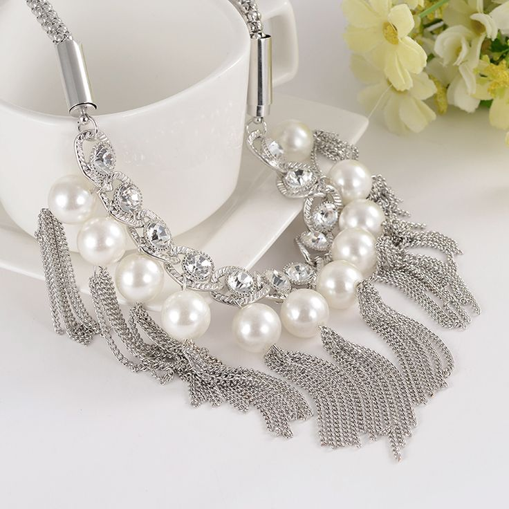 2015 Hot Sale Big Simulated Pearl Necklace Women Wholesale Statement Chunky Necklace Jewelry For Women-in Power Necklaces from Jewelry on Aliexpress.com | Alibaba Group