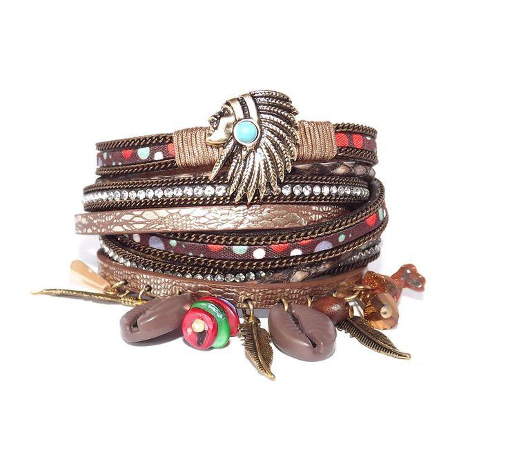 Manchette  en cuir / Bracelet automnal esprit bohémien / ethnique Indien Ton marron / cuivré