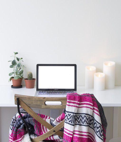"""Berry Pink"" Mexican Blanket at lindsay marcella design home office   shop www.lindsaymarcella.com"