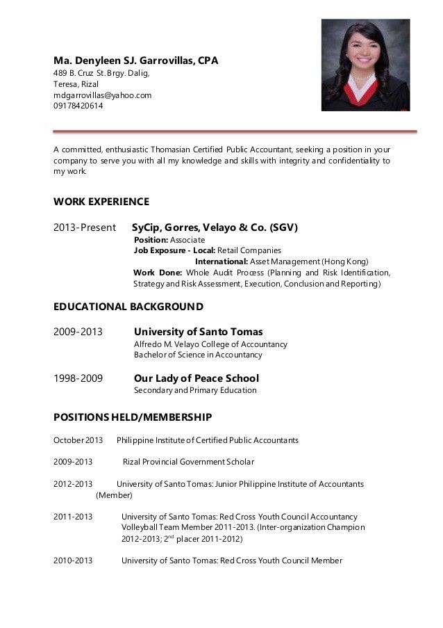 sample resume for accountants philippines