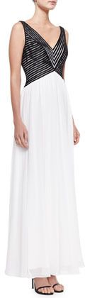 $550, Aidan Mattox Sleeveless V Neck Combo Gown Blackwhite. Sold by Neiman Marcus. Click for more info: https://lookastic.com/women/shop_items/20927/redirect