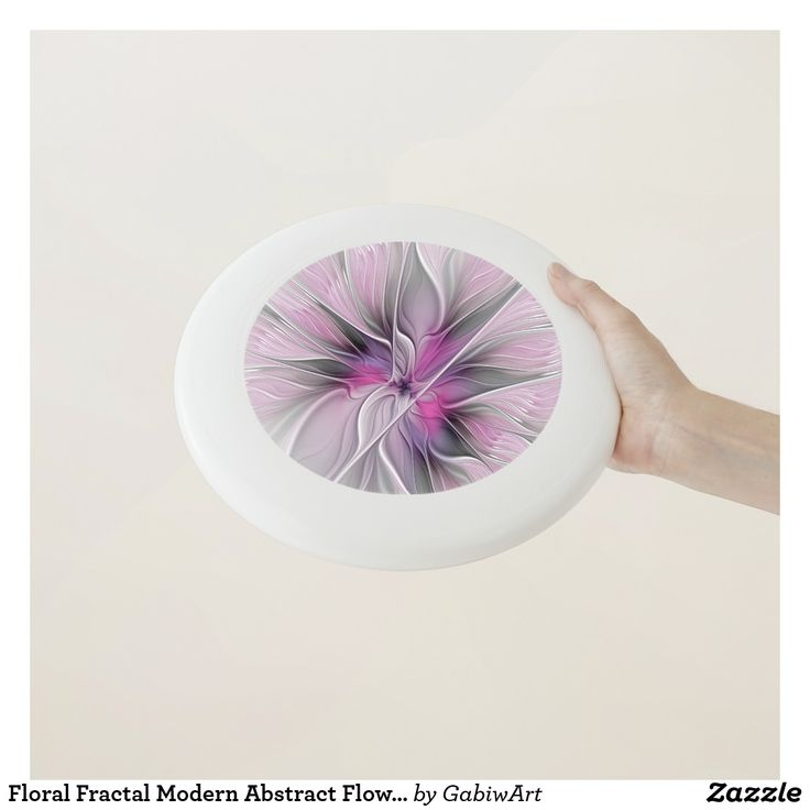Floral Fractal Modern Abstract Flower Pink Gray Wham-O Frisbee