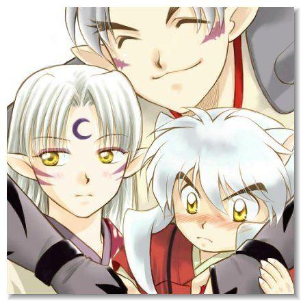 Inu no Taisho holding his sons Sesshomaru and InuYasha - InuYasha; fan art, funny