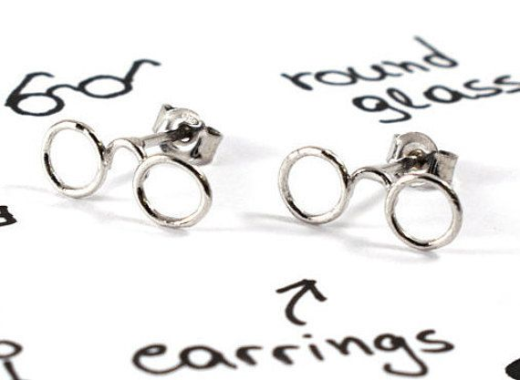 Glasses earrings eyeglasses earrings sterling by Akatergasto