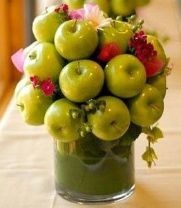 Granny apples and flowers.
