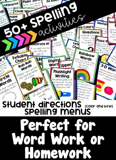 Tired of the same spelling activities? Keep it fresh with this HUGE variety of spelling and word work activities.This product includes directions for 54 different spelling and word work activities.Directions are student friendly. They come 4 per page in b