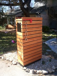 This is our new modern mailbox my husband made. Inspired by one found on ModFruGal.
