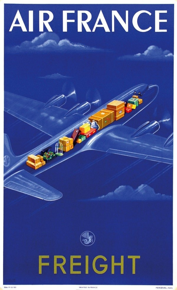 Air France Print was designed in Paris by Atelier Perceval as an advertisement for the venerable airline.