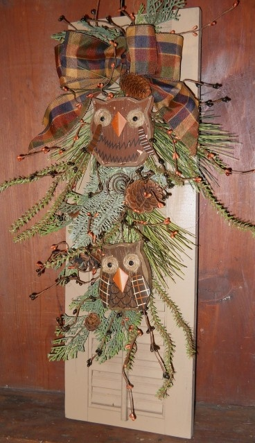 Country Primitive Rustic Fall Winter Pine Owl Shutter Wreath Swag Hanging | eBay