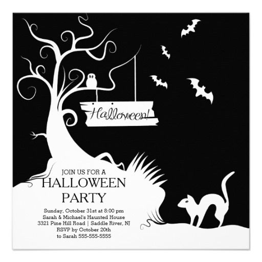 52 best halloween party invitations images on pinterest halloween modern black white halloween party invitation stopboris Choice Image