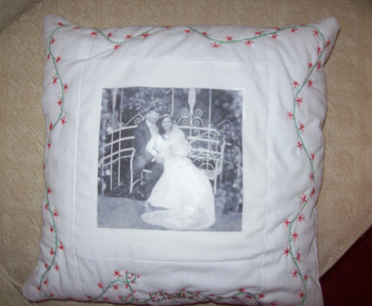 Personalized picture cushion, with hand embroidered edging.  Please take a look at the items I sell @ www.lemayed-for-you.webs.com, thanks.