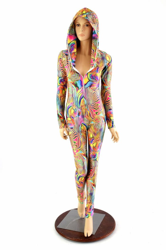 Tropical Swirl Lycra Spandex Stretchy Long Sleeve Zipper Front Catsuit Bodysuit w/Self-Lined Hood 150529 by CoquetryClothing on Etsy https://www.etsy.com/listing/226208274/tropical-swirl-lycra-spandex-stretchy