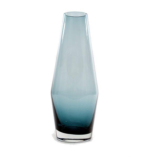 Riihimaki-Riihimaen Lasi Finland Blue Vase