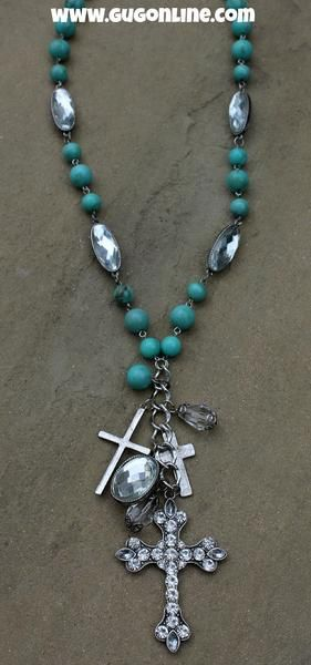Long Turquoise Necklace with Crystal Cross Dangle