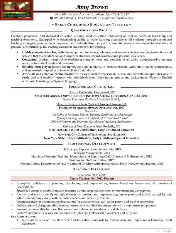 Early Childhood Education Teacher Resume (Sample) Download