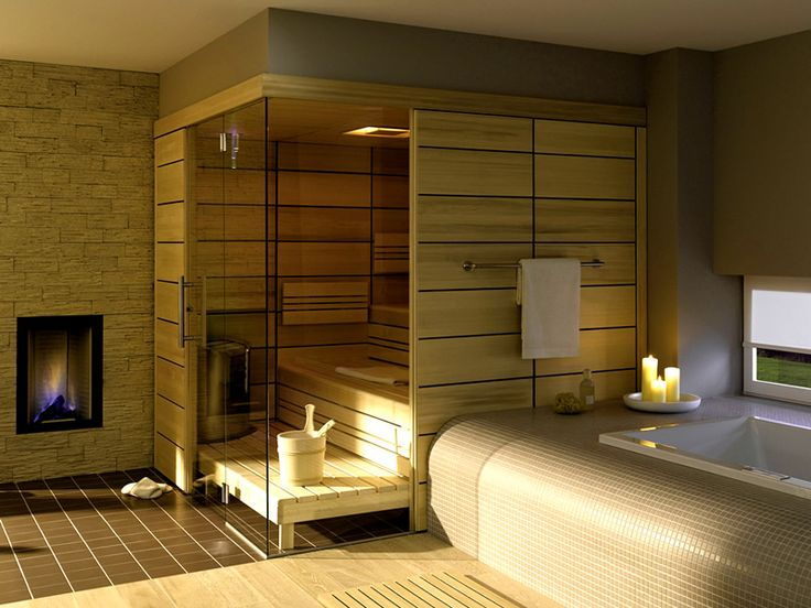 Contemporary-Bathroom-with-Enchanting-Oak-Wodd-for-Home-Sauna-Room-and-Small-Modern-Fireplace-Ideas