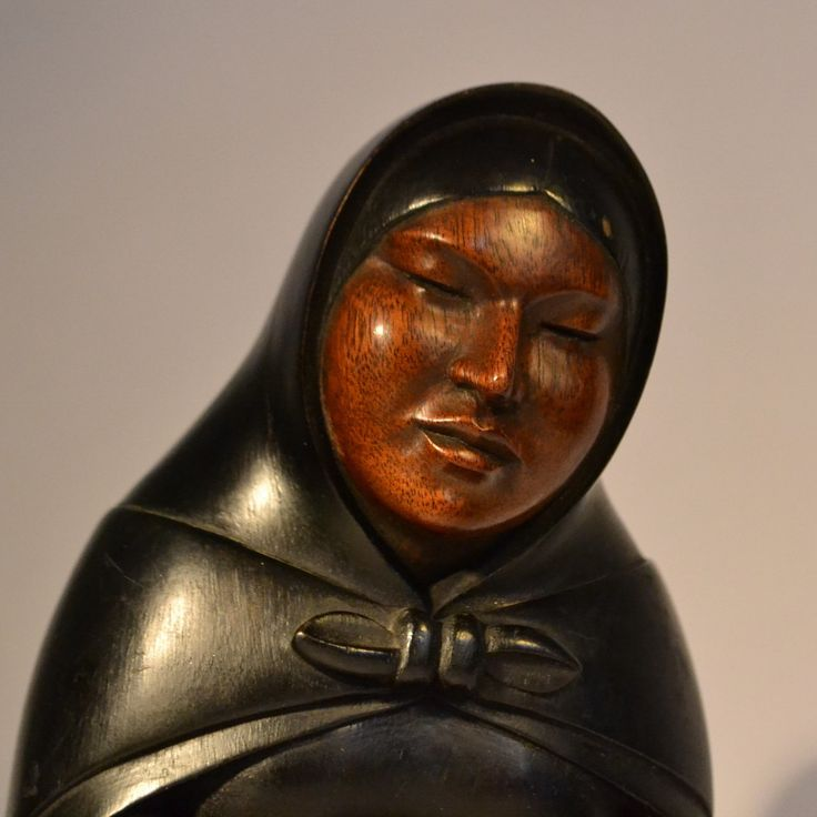 Native American Woman and Baby by A. Ramireza. Indigenous. Wood carving.