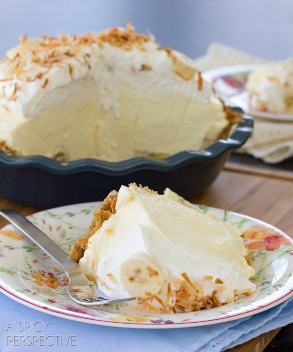 This light and fluffy banana cream pie recipe is loaded with fresh bananas and silky filling, then topped with piles of whipped cream and toasted coconut.