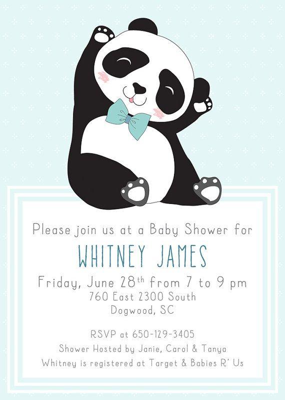 Dapper Panda Baby Shower Invitation Boy Digital by Klutzybug