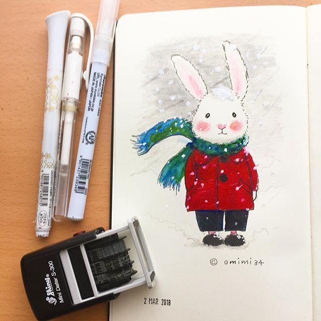 omimi34. No.775€. 2018.3.2の絵日記 . 3月に入った途端の、暴風雪警報です。😱 . . #暴風雪警報 #雪 #北海道  #うさぎさん #rabbit #kawaii #絵日記 #diary  #モレスキン#moleskinejp #moleskine #お絵描き#illust #イラスト#色鉛筆#cleancolor #coloredpencil #2018omim2018/03/02 16:17:01
