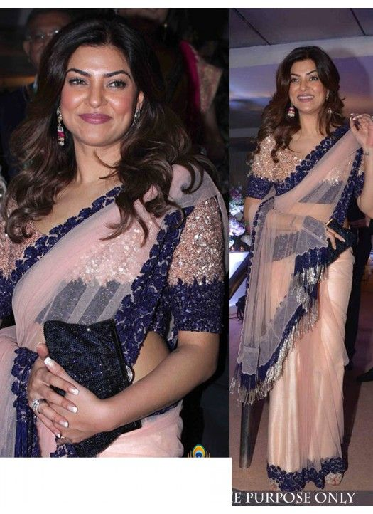 Sushmita Sen In Manish Malhotra Pink Nylon Net Saree