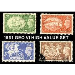 GB - 1951 GEORGE VI HIGH VALUE SET - FINE USED for R145.00