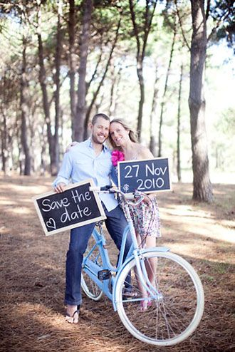 save the date. DIY with chalk on chalkboard signs.