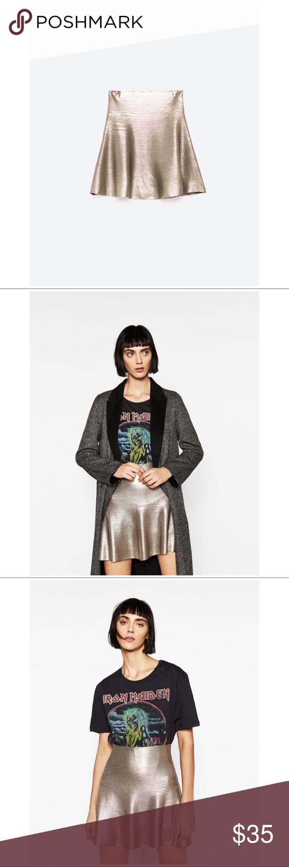 RARE NWT ZARA F/W 16 SHORT A-LINE FOIL SKIRT SZ S This is a brand new Zara skirt.   It's a mini length, in an a-line style. Color is a gold/silver. It's a pull up skirt, there are no zippers or buttons.   From the Winter 2016 Collection.   Original Price: $40  Offers welcome!  #zara #zaraskirt #zarafoilskirt #zaraalineskirt #zarashortskirt #zaraminiskirt #zarashortalinefoilskirt #foilskirt #alineskirt #miniskirt #metallic #metallicskirt #alinefoilskirt #shortskirt #sparkly #gold…