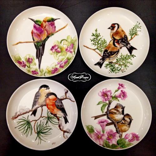 """Коллекция тарелок на стену """"Птицы времен года"""""""
