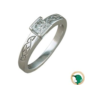 Our ladies Celtic Princess Cut Diamond ring in 18ct white gold with one .40ct princess cut diamond.