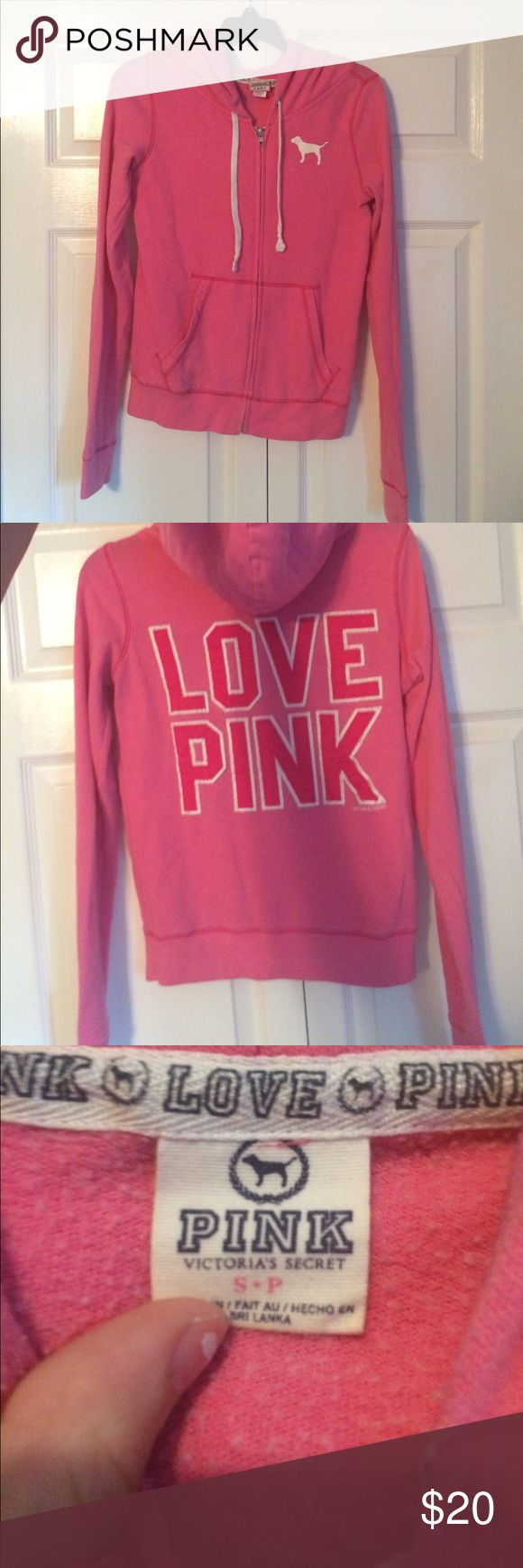 pink PINK zip up size small small pink PINK sweatshirt! lightly warn still in good condition just doesn't fit anymore PINK Victoria's Secret Tops Sweatshirts & Hoodies