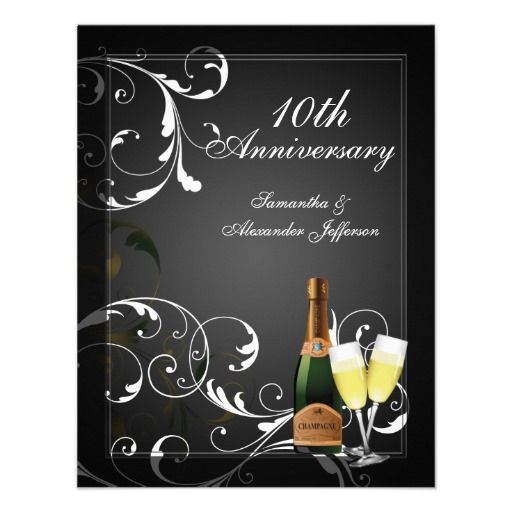 15 best 10 year anniversary invitations images on pinterest black and white silver champagne anniversary party card stopboris Images