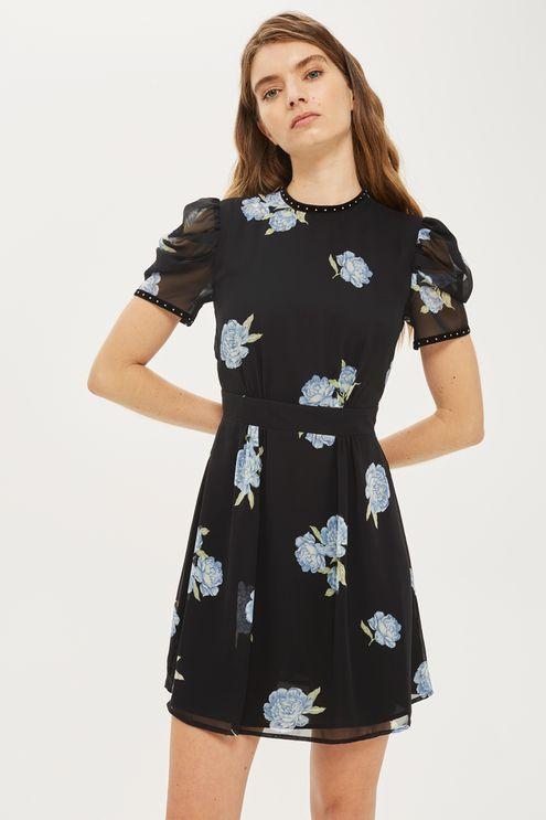 TALL Studded Puff Sleeve Dress