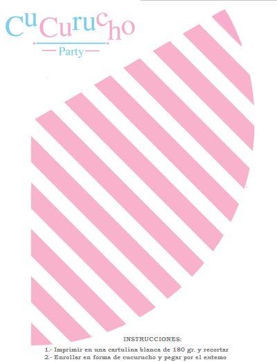 Imprimible gratuito para cono de chuches o palimitas en rosa