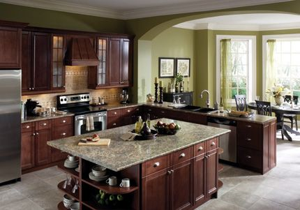 Beautiful Kitchen Wilsonart Beveled Edge Countertop Dark Cabinets Big Island Open Design