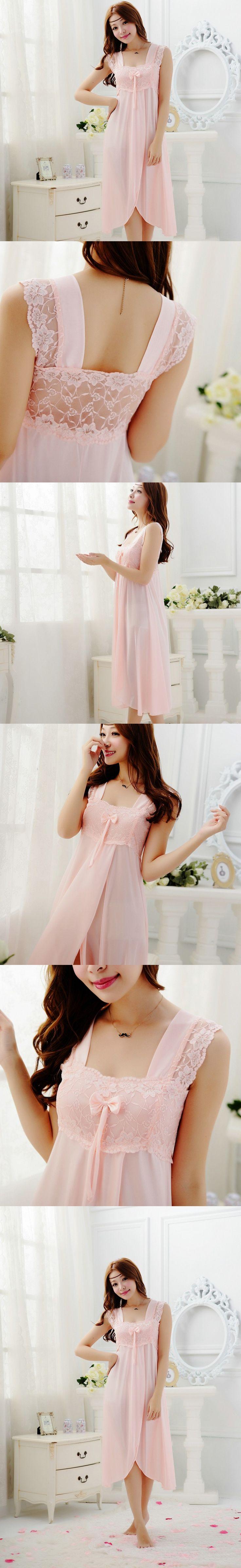 Free shipping long lace sexy nightdress for women girls bow long pajamas Elegant Sleepwear nightgown lovely night dress Y218