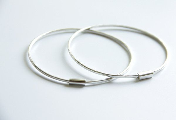 Thin Sterling Silver Bangles - Set of Two - Stackable Bangle Set