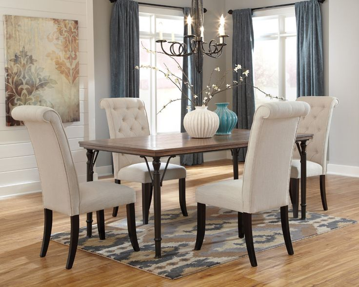 This Beautiful Dining Table Four Chairs Set Boasts Of Rustic Brown Finished Top Supported By The Aged Color Tubular Metal Legs