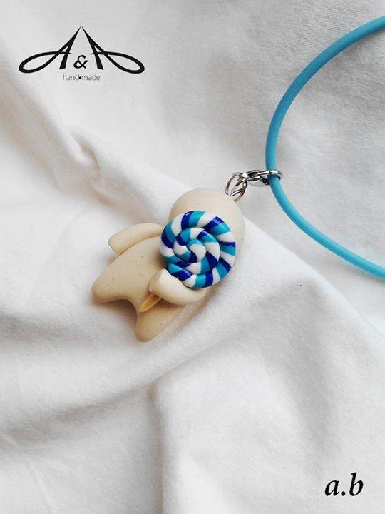 miniature clay jewelry   cute little lollipop man necklace